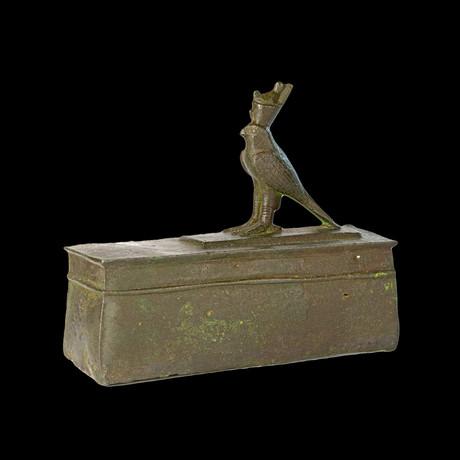 An Egyptian Bronze Horus Falcon On A Sarcophagus, 26Th Dynasty, Ca. 646-525 BCE