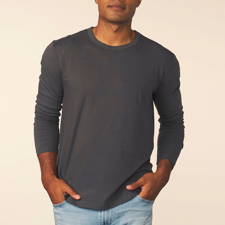 Cashmere Blend Long-Sleeve Tee // Carbon (S)