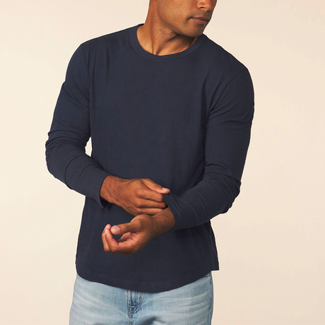 Cashmere Blend Long-Sleeve Tee // Pacific (S)