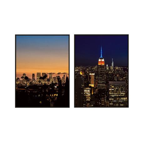 City Skyscapes by Alexis Adam // Medium // Set of 2 (Black Frame)