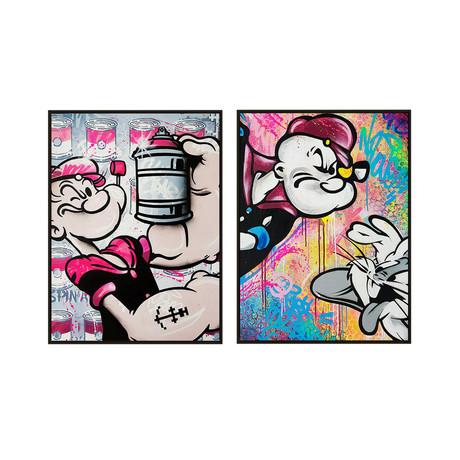 Popeye un Lapin by Mr. Oizif // Medium // Set of 2 (Black Frame)