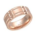 Tungsten Carbide Rectangular Band // Rose Gold (10)