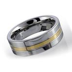 Tungsten Carbide Band // Silver + Gold (9.5)
