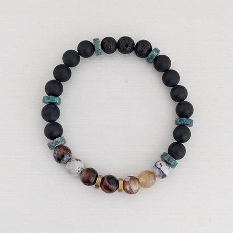 Fire Agate + Black Agate + Lava Mix Bead Bracelet // Multicolor