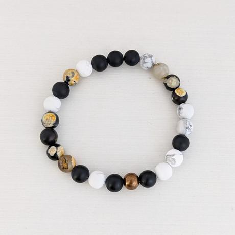 Agate + Matte Howlite Bead Bracelet // Black + White + Yellow