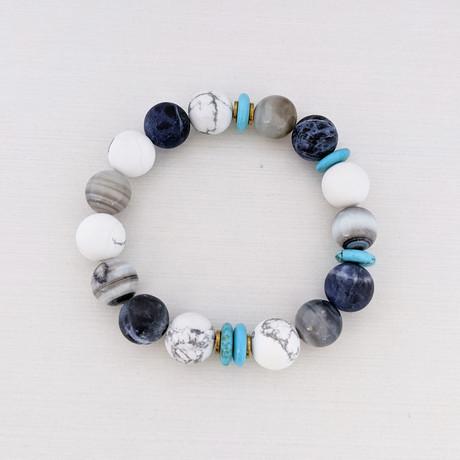 Howlite + Sodalite + Agate + Turquoise Bead Bracelet // White + Blue + Gray