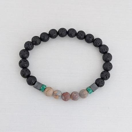 Aqua Terra Jasper + Lava Bead Bracelet // Yellow + Olive + Black