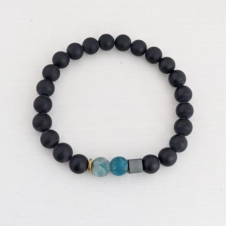 Agate + Matte Apatite + Square Bead Bracelet // Black + Blue