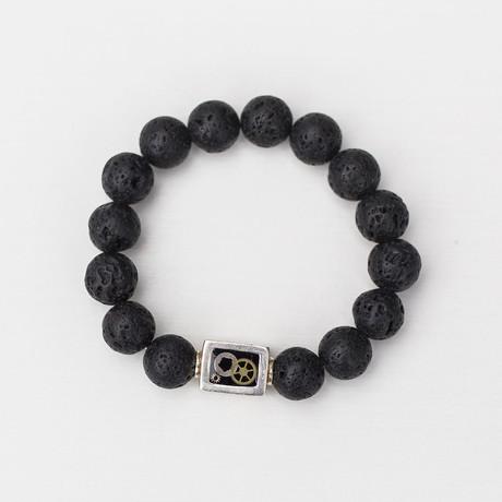 Lava Bead Bracelet // Black + Silver