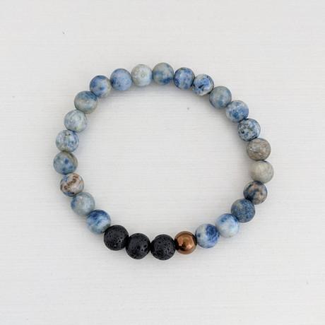 Agate + Lava + Hematite Bead Bracelet // Blue + Black + Copper