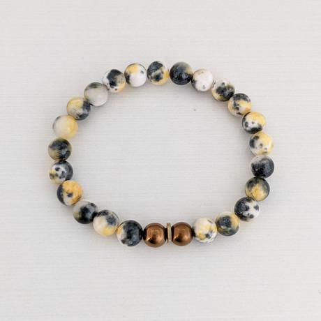 Persian Jade Bead Bracelet // Yellow + Copper