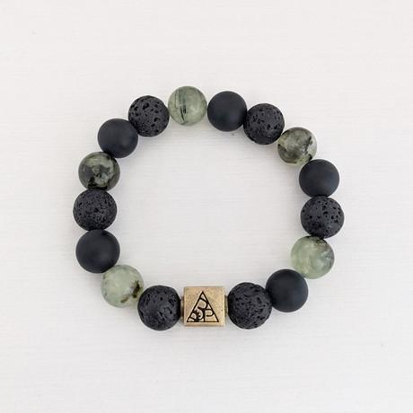 Prehnite + Lava + Agate Bead Bracelet // Black + Green