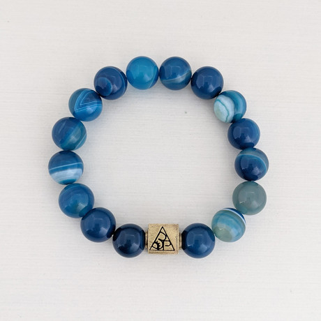 Banded Agate Bead Bracelet // Blue + Gold