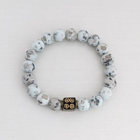Sesame Jasper Bead Bracelet // Mint + Gold