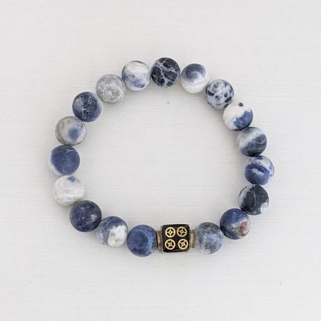 Matte Sodalite Bead bracelet // Blue + Gold