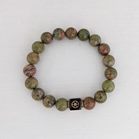 Unakite Bead Bracelet // Olive + Gold