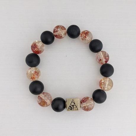 Crackle Quartz + Agate + Turquoise Bead Bracelet // Coral + Black