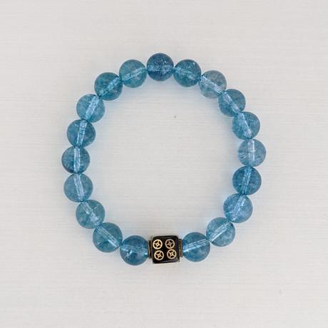 Crackle Quartz Bead Bracelet // Blue