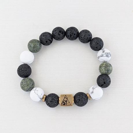 Howlite + Serpantine + Lava Bead Bracelet // Green + Black + Gold