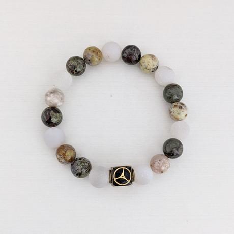 Opal + Dragon Blood Jasper + Druzy Agate Bead Bracelet // Multicolor