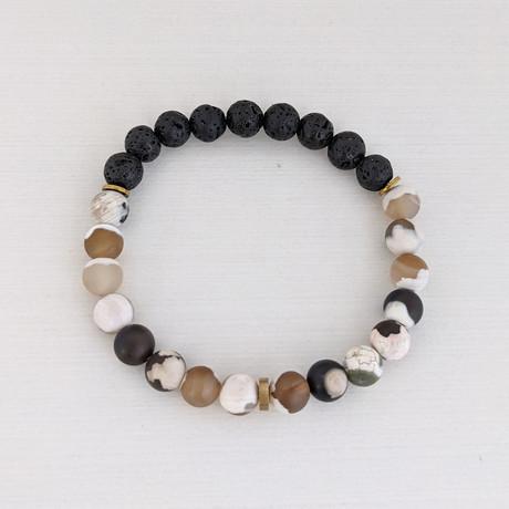 Agate + Lava Mix Bead Bracelet // Brown + Black + Gold