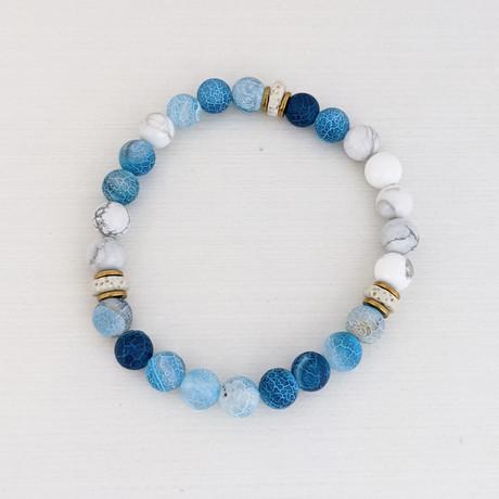 Weathered Agate Bead Bracelet // Blue + Gold + White