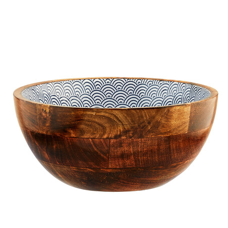 "Mango Wood Salad Bowl // 9.5""Ø (Dark Wave)"