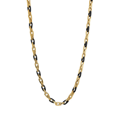 Linked Stainless Steel Adjustable Necklace // Gold + Black