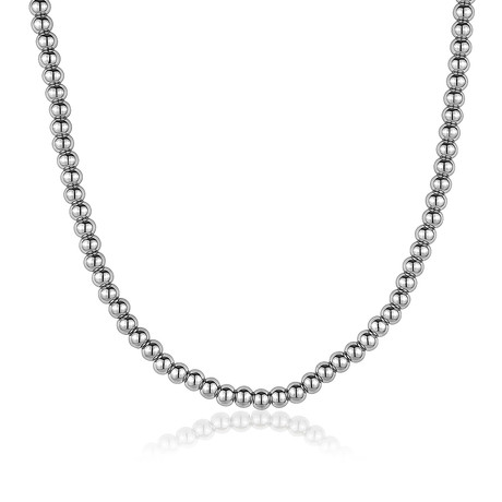 "Polished Beads Adjustable Necklace // 5mm // Silver (22"" + 2"")"