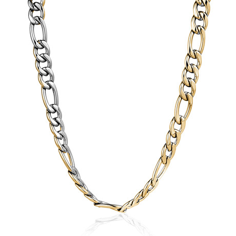 "Reversible Figaro Polished Necklace // 4.5mm // Gold (18"")"