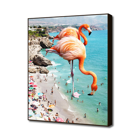 "Flamingos on the Beach (16""W x 20""H x 1.5""D)"