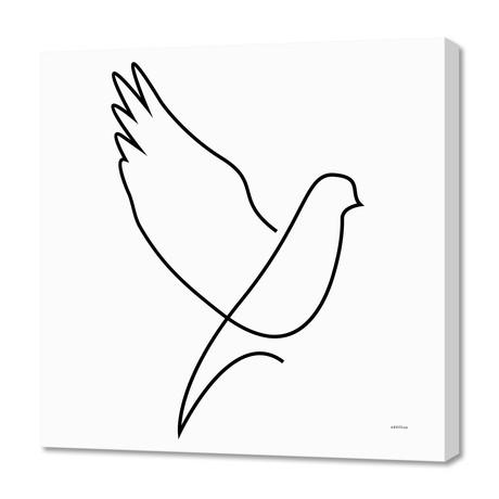 """dove - single line art (16""""W x 24""""H x 1.5""""D)"""