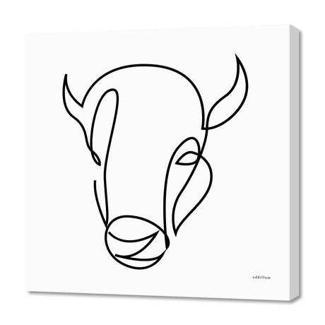 "antiquity - one line bull art (16""W x 24""H x 1.5""D)"