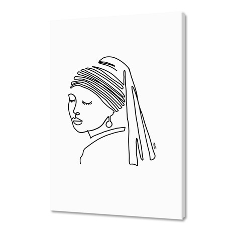 """Girl with a Pearl Earring (16""""W x 24""""H x 1.5""""D)"""