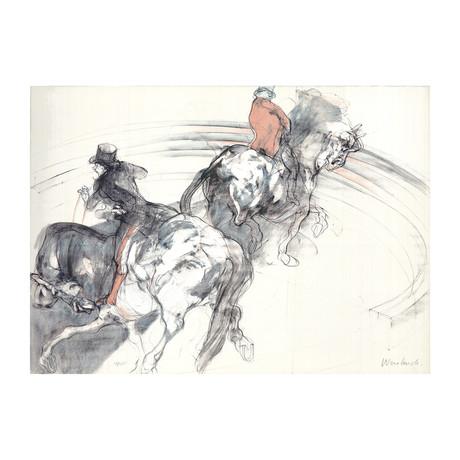 Claude Weisbuch // Two Horsemen // 1985 Lithograph // SIGNED