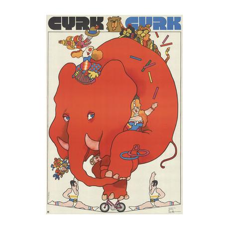 Waldemar Swierzy // Cyrk Cycling Elephant // 1973 Offset Lithograph