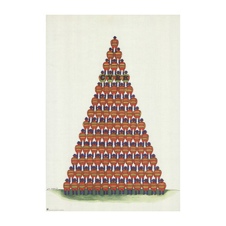 Jan Sawka // Circus Pyramid of Acrobats // 1975 Offset Lithograph