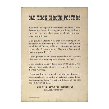 Circus World Museum // 1960 Offset Lithograph