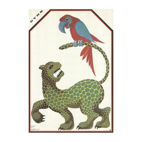 Hubert Hilscher // Cyrk Jaguar and Parrot // 1974 Offset Lithograph