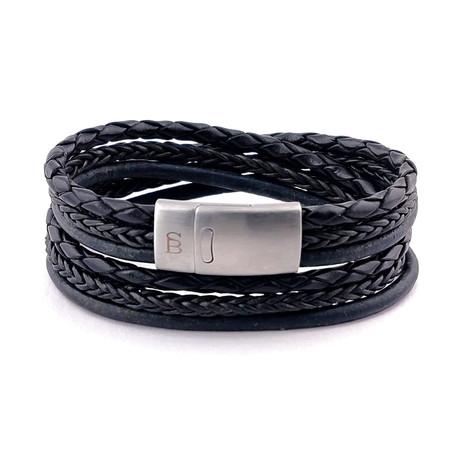 Leather Bracelet Bonacci // Black (S)