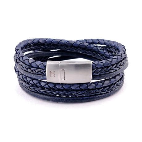 Leather Bracelet Bonacci // Denim Blue (S)