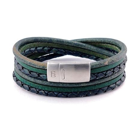 Leather Bracelet Bonacci // Dark Green (S)