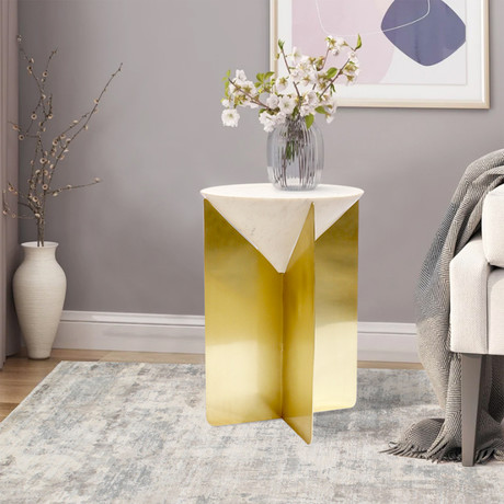 Riyah Side Table // White + Gold