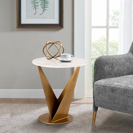 Riyah Side Table // Brass + White