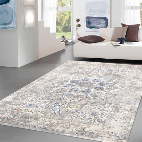 Modena Collection // Power Loom Area Rug // Light Gray // 9'L x 12'W
