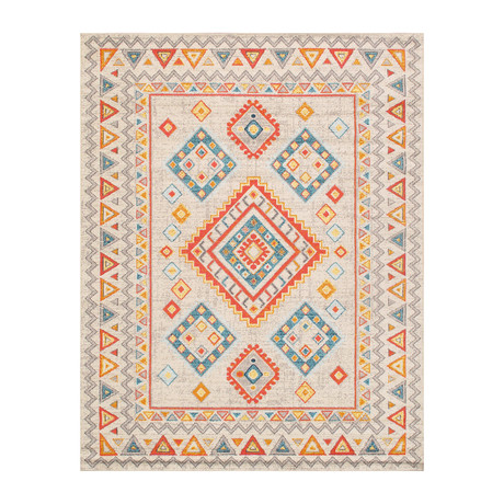 Solstice Collection // Power Loom Area Rug // Beige v.2 (2'L x 3'W)