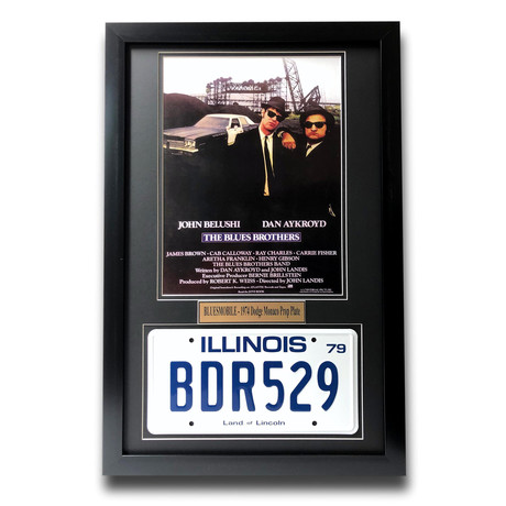 """Blues Brothers"" Dan Aykroyd // Movie Car License Plate // Framed Collage"
