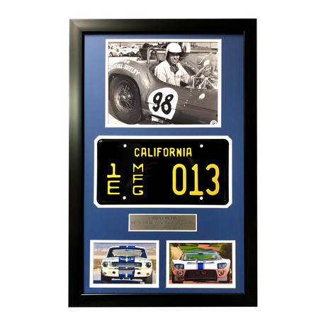 "Carroll Shelby Framed Movie Prop Test Plate // ""Ford vs Ferrari"" GT350 GT40 Collage"