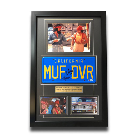 """Up in Smoke"" Cheech & Chong // Movie Car License Plate // Signed Framed Collage"