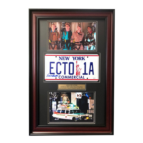 """Ghostbusters"" Ernie Husdon Ecto-1A Cadillac // Movie Car License Plate //  Signed Framed Collage"